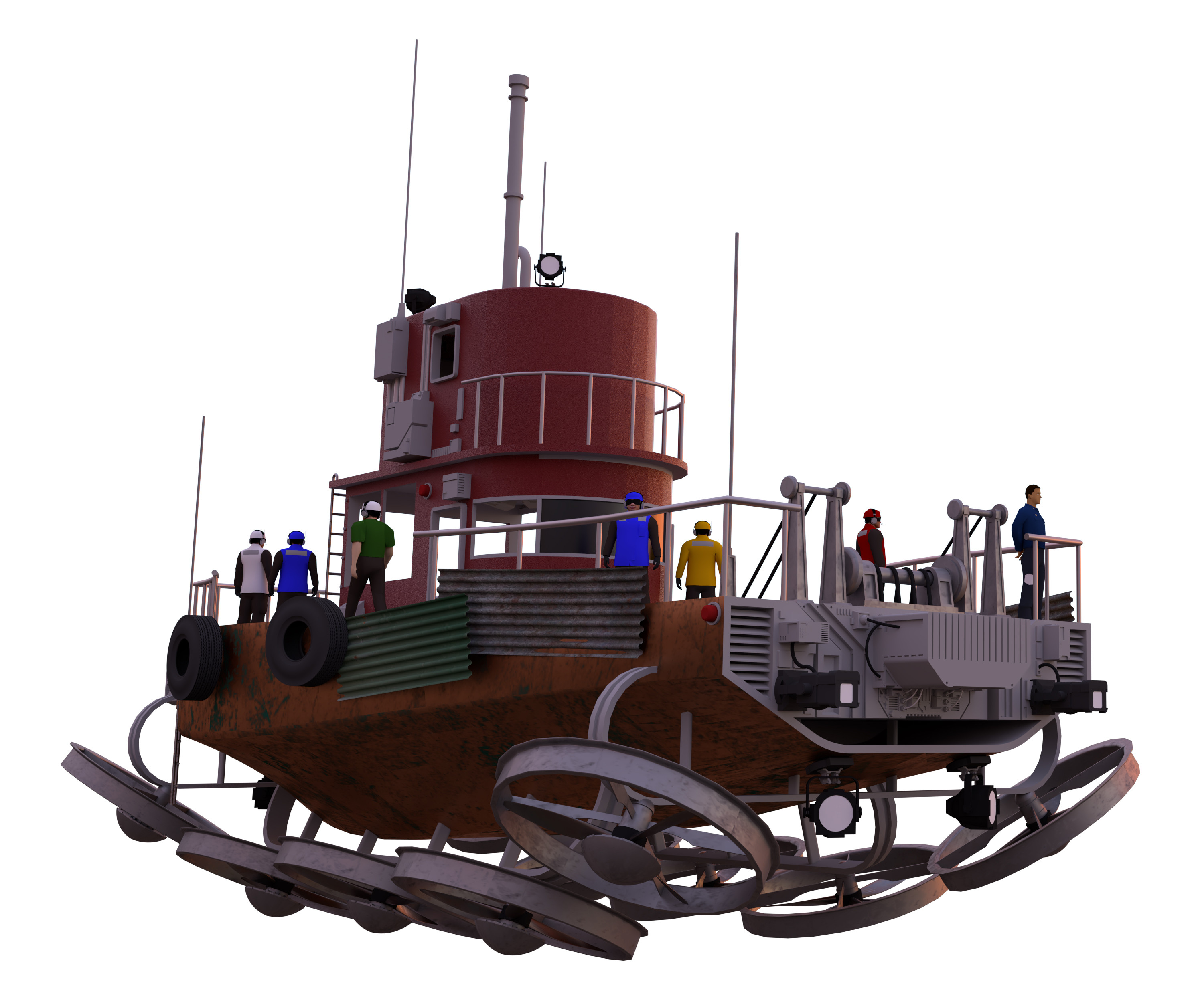 3D render of the aerial ship