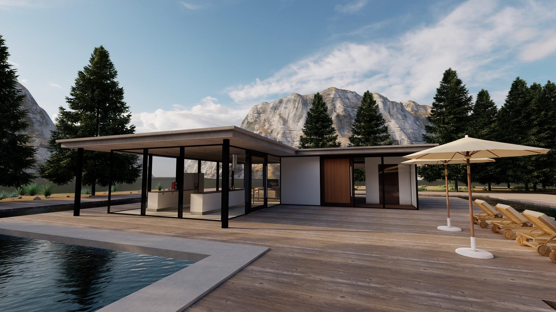 Artstation modern house in the mountains rodrigo amorim