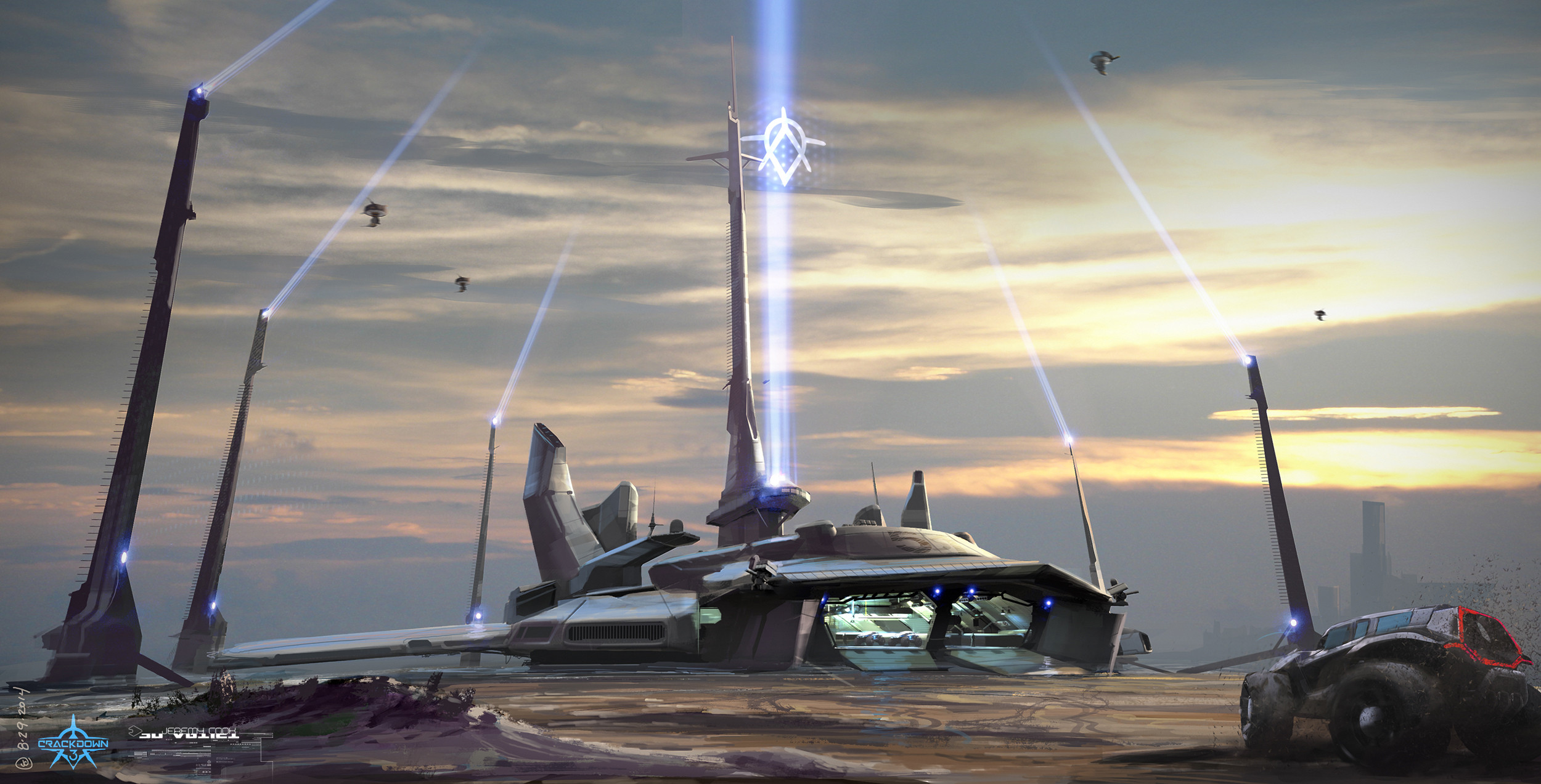 """Early concept for Agency super carrier deployed on a beach and in """"base mode"""""""