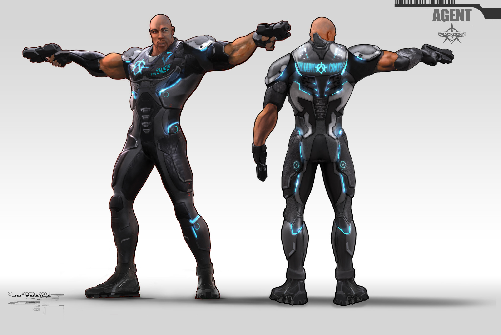 Early concept for Agent armor design.