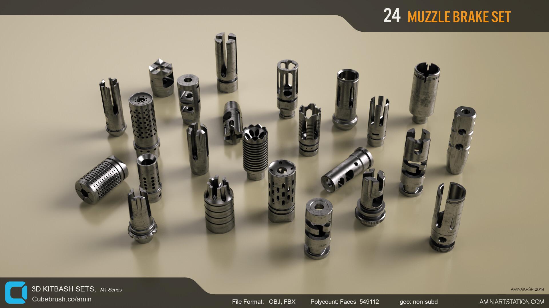 Amin akhshi 001 muzzle brakes set
