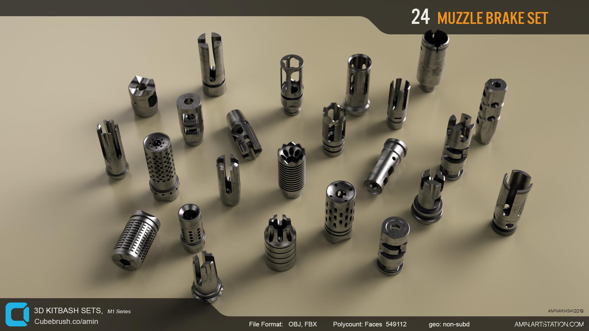 Amin akhshi 004 muzzle brakes set