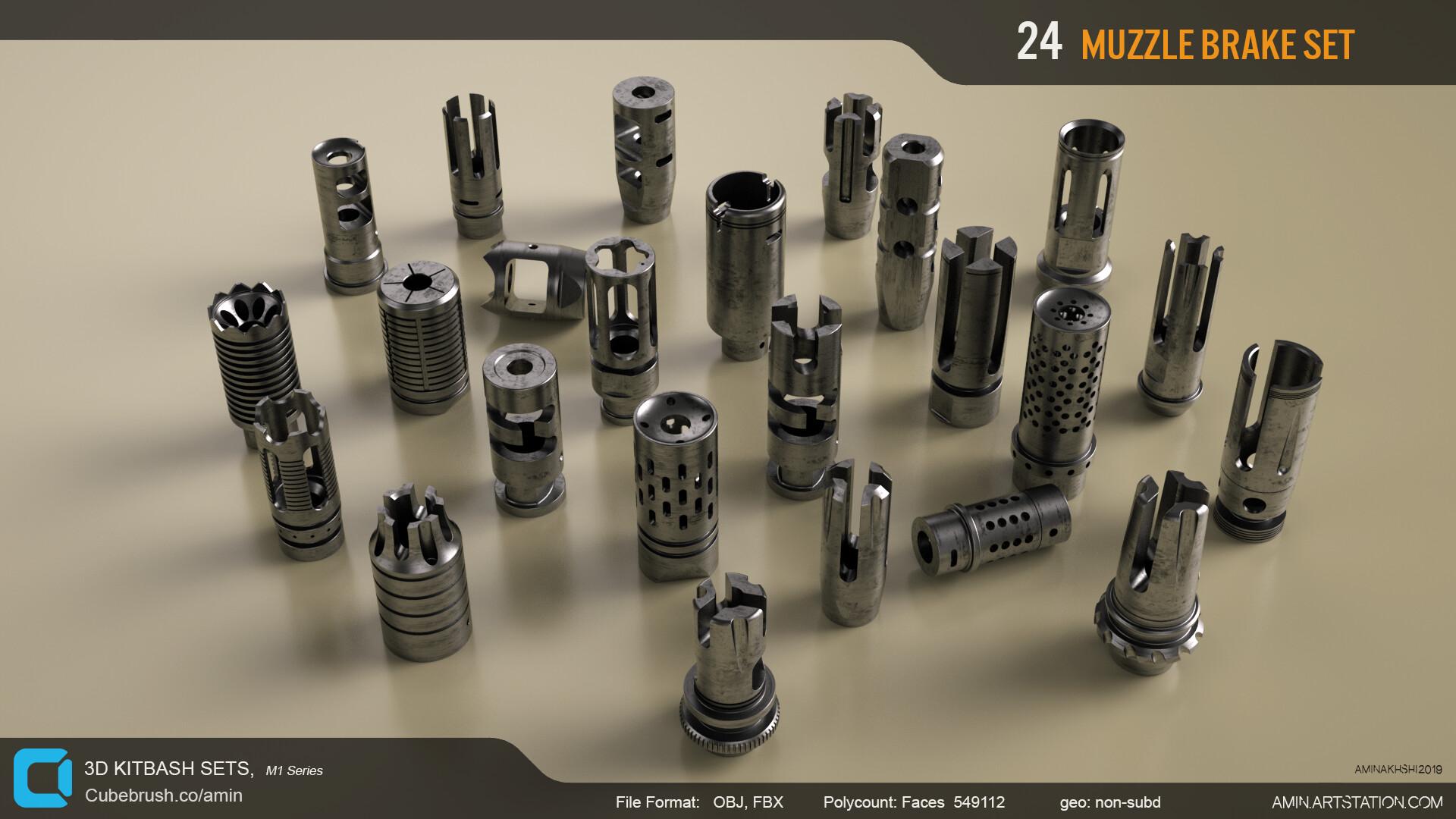 Amin akhshi 005 muzzle brakes set