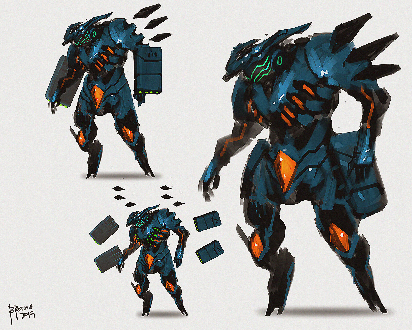 concept art. equipped with pairs of missile pods, anti-missile system, shoulder spike beams, chest missile barrage.