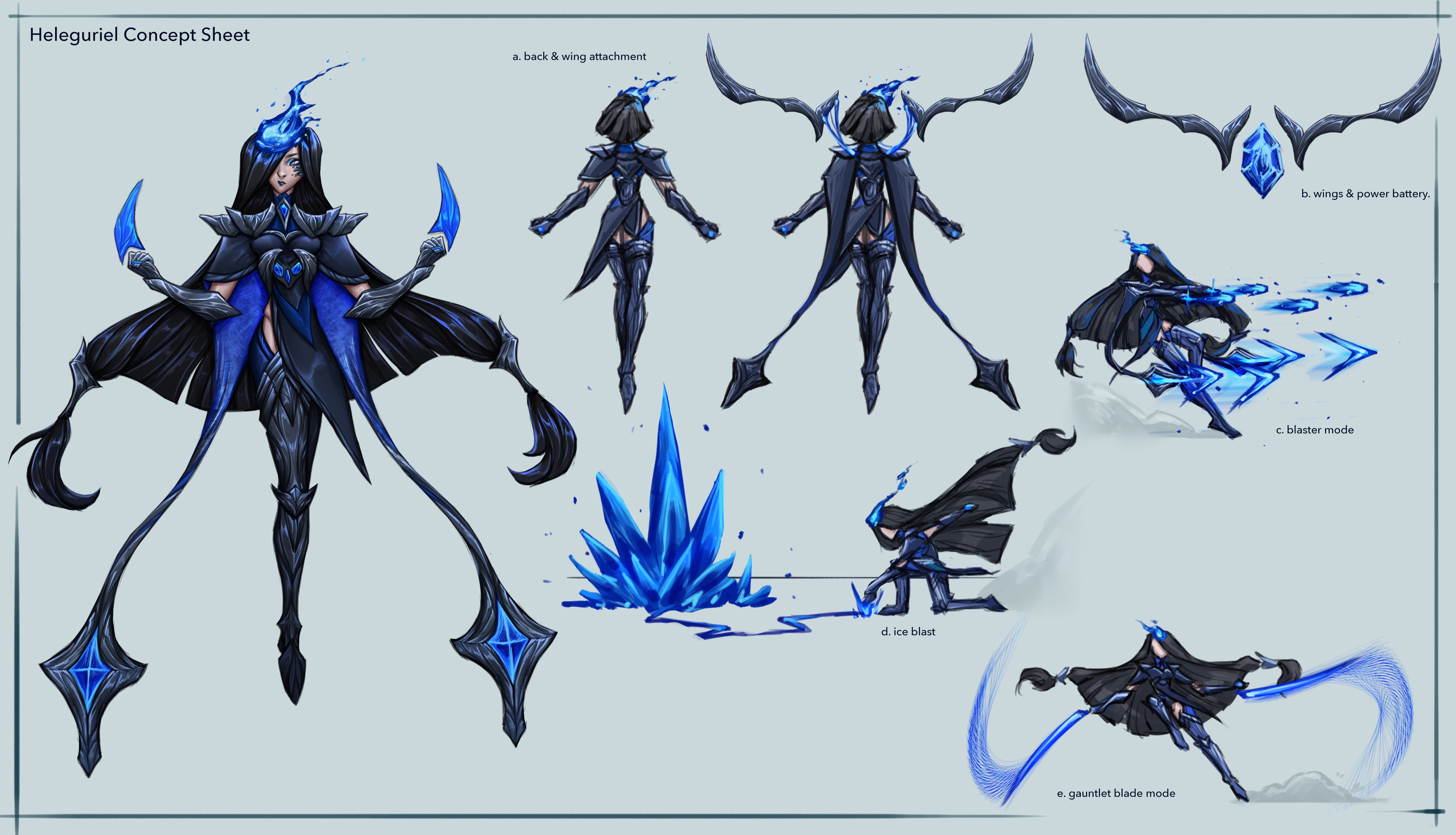 Heleguriel [2/3] Her concept sheet complete with back view and poses