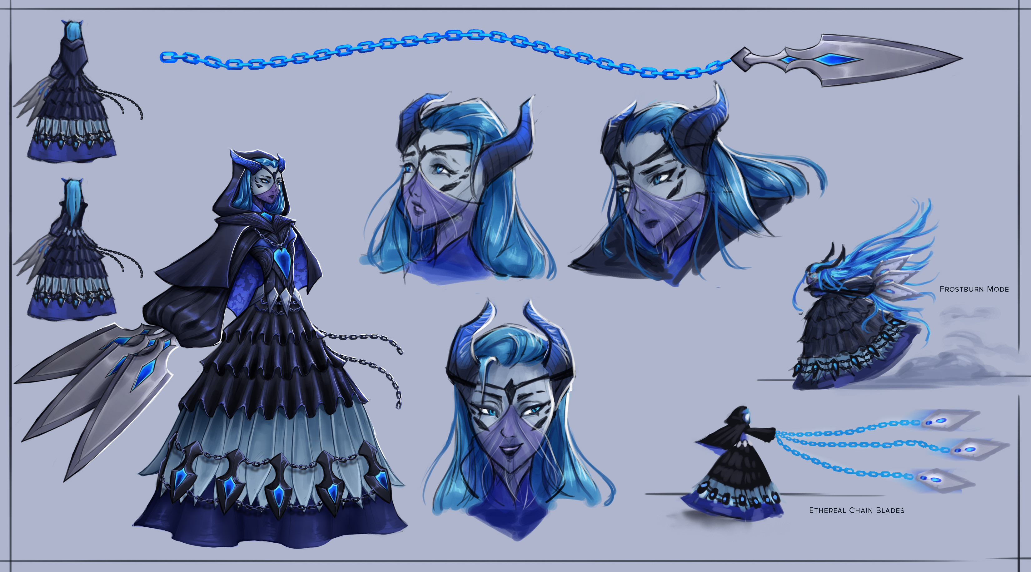 Ra'Lorel [2/2] Concept sheet complete with back view, chain blades, poses, and expressions