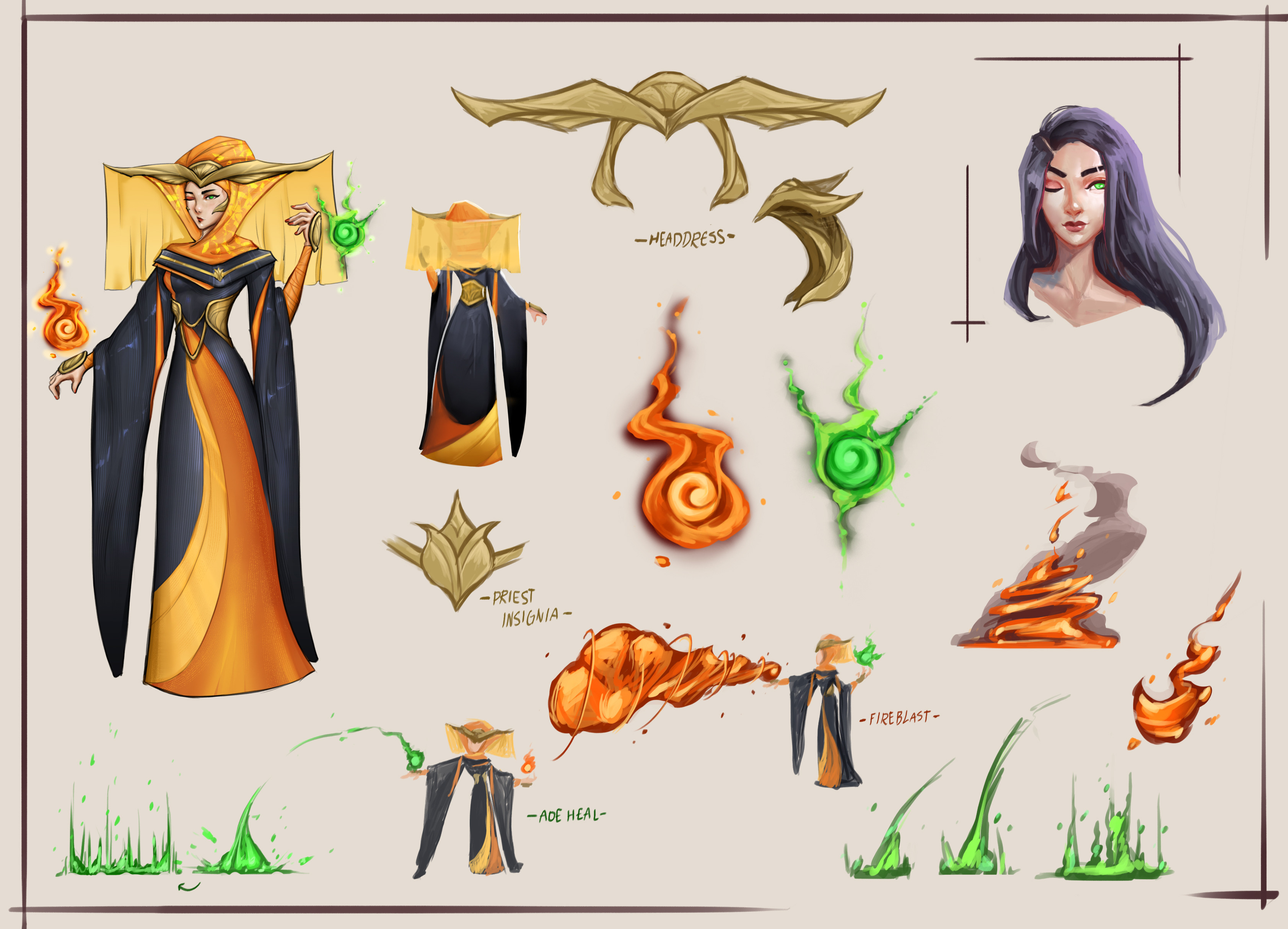 Invoker Araenia [2/3] Concept sheet complete with magic casting exploration, portrait with hair down, headdress, and back view!