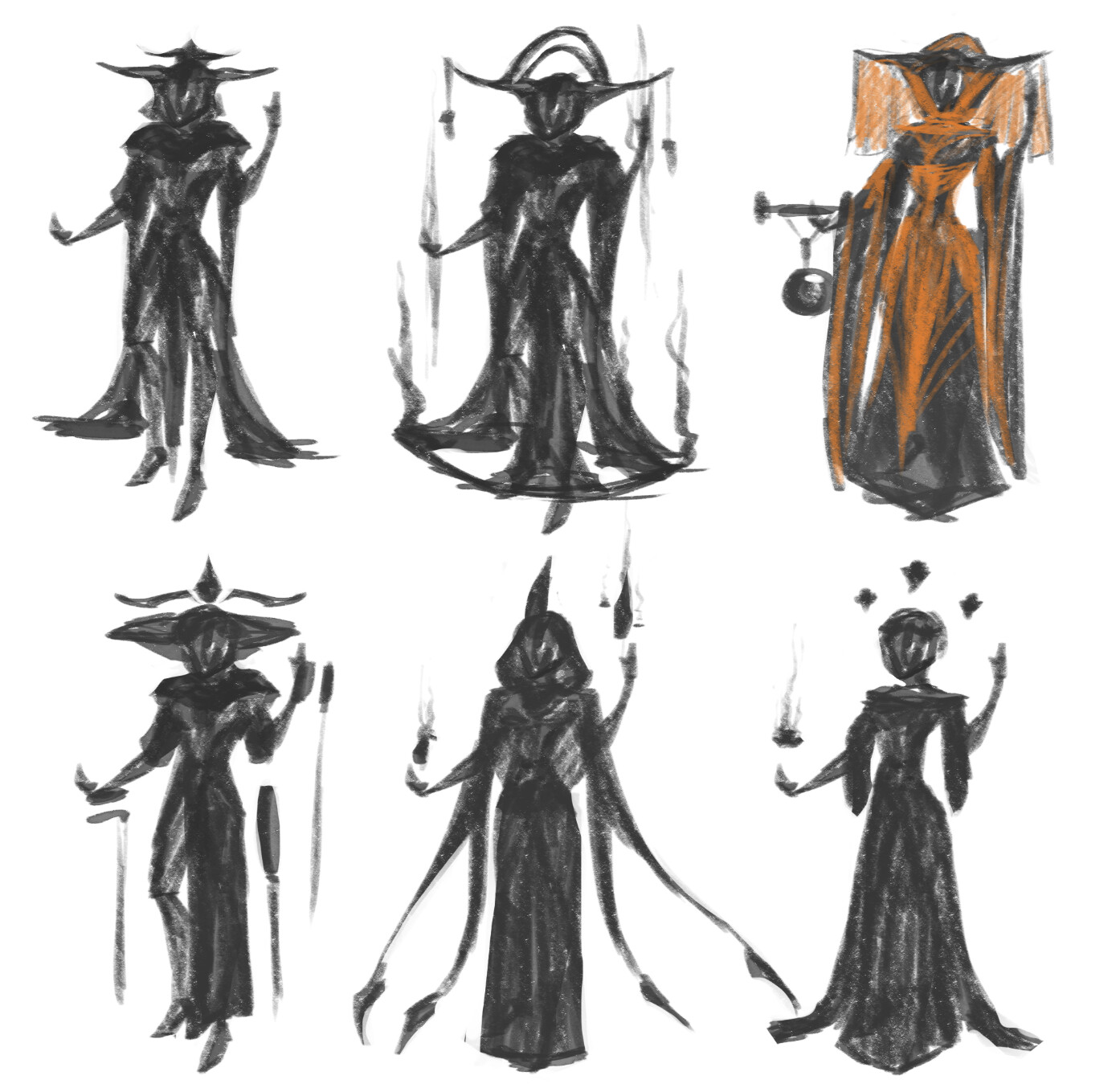 Invoker Araenia [3/3] Silhouette exploration. Wanted to go with something that looked very wise and very extra (lots of fabric and garments!)