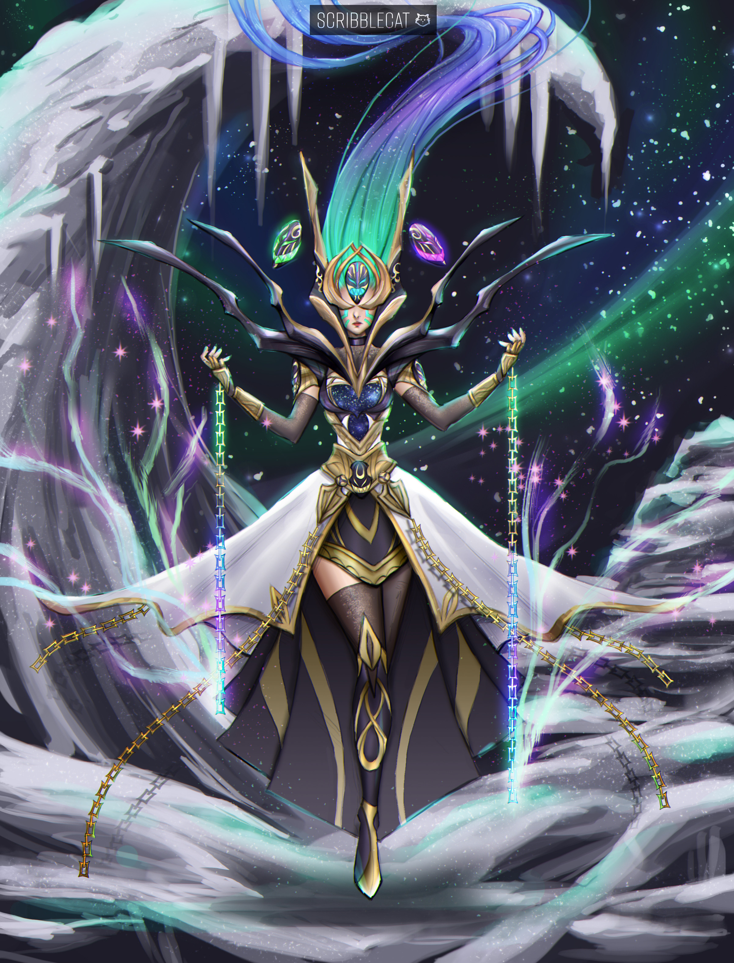 God-Queen Borea [1/3] Banished from the Sky realms and bound to the Northern region of Asgaea, she's an angry goddess who serves to keep dangers out of the North and protect a sacred relic. Helped Iceborn adjust to the North by granting them Frosted Fire