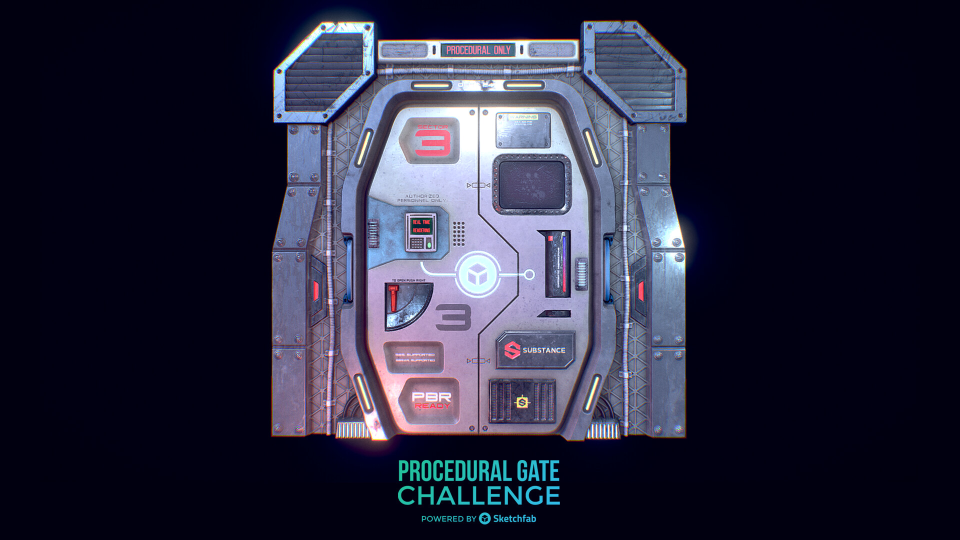 ArtStation - #ProceduralGateChallenge - Sci Fi Gate (Download), Raúl