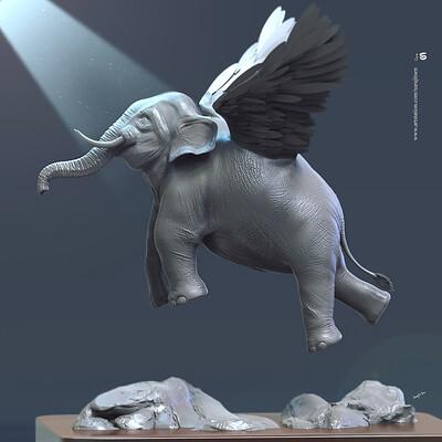 Surajit sen levitation flying elephant digital sculpting surajitsen april 2019