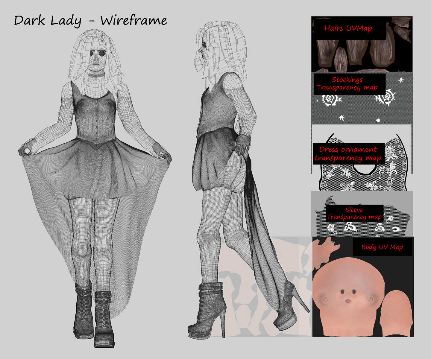 Dark Lady - wireframe and textures