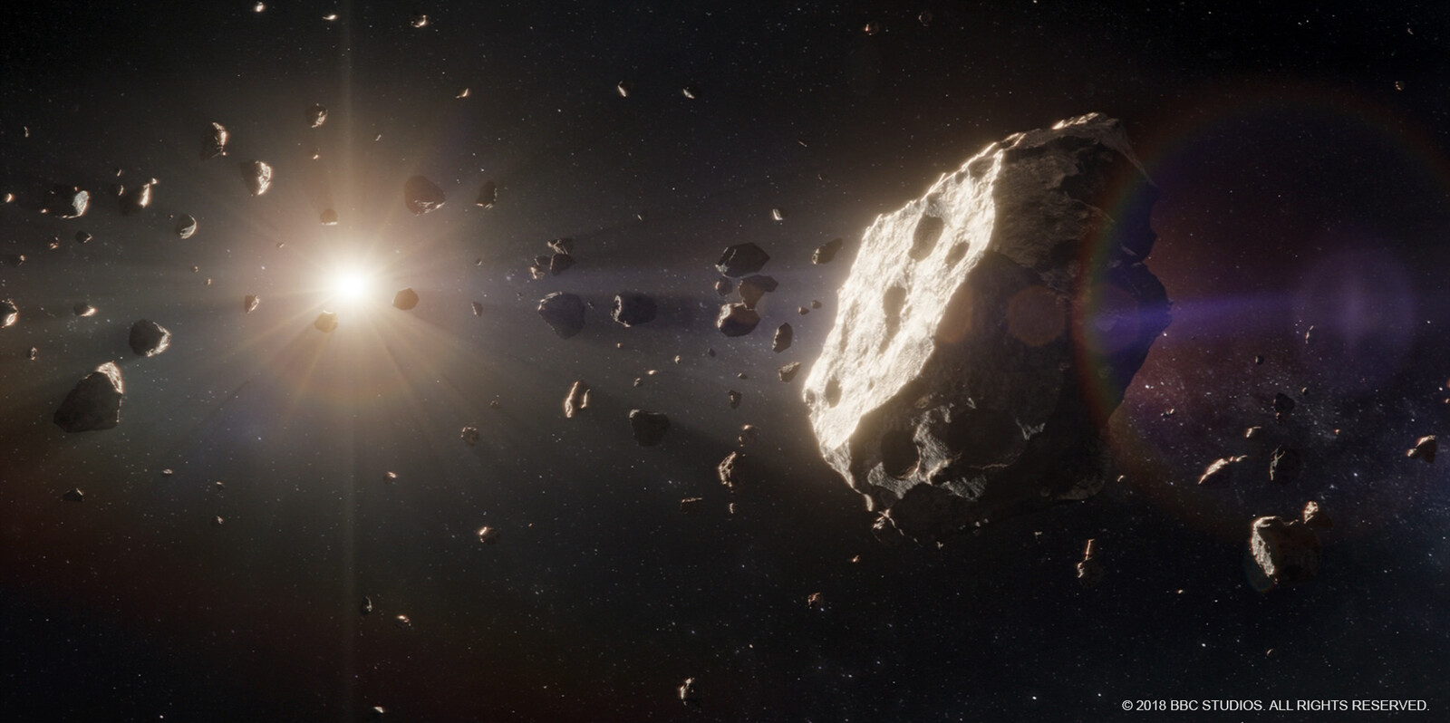 Asteroid field - shot layout and lighting