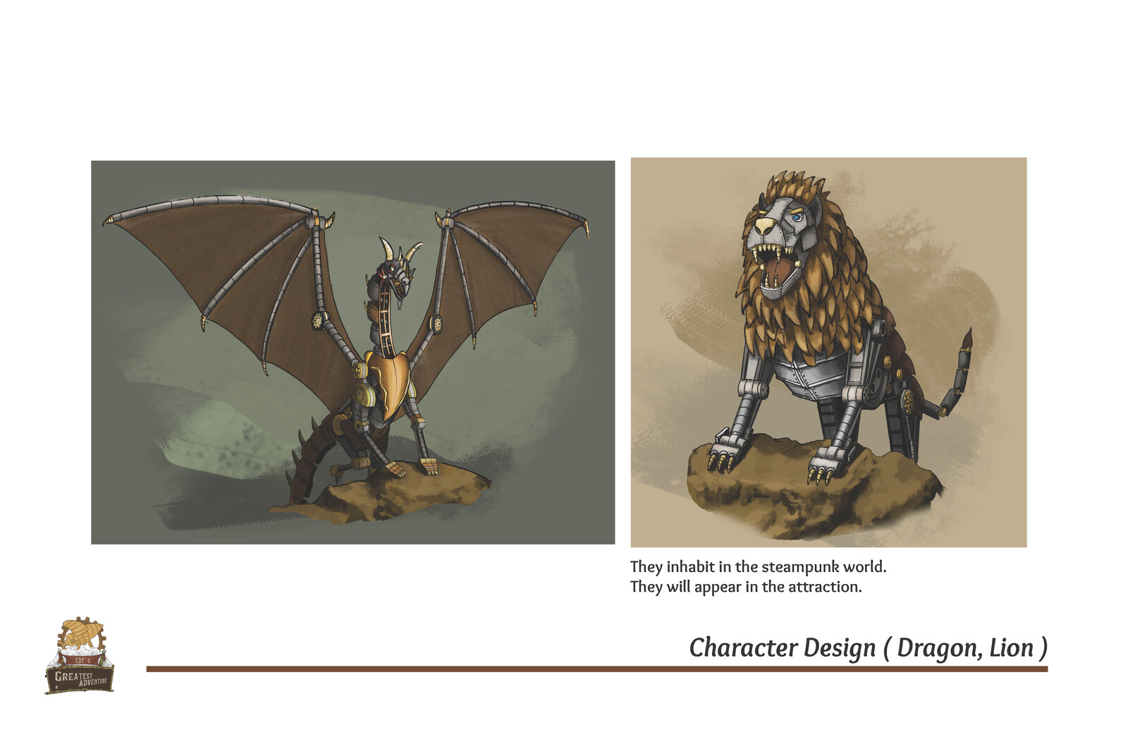 Character Design (Dragon, Lion)