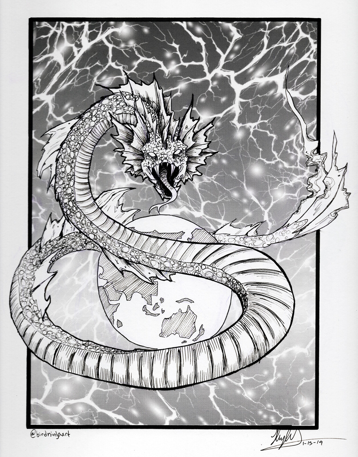 The original Jormungandr drawing for the creatuanary challenge in January. The lightning effect was done in screen tone.