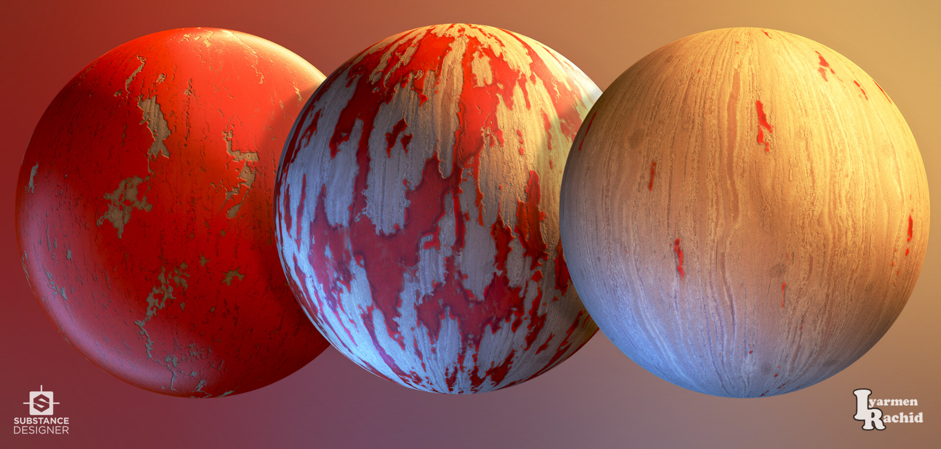 Spheres renders with paint propagation variation