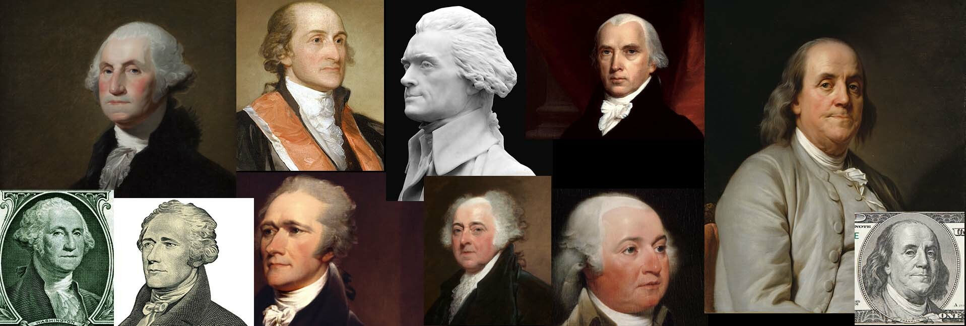 Some reference used for the various portraits. The only one I feel just isn't there yet is John Adams (the two images on the lower row, to the left of Benjamin Franklin), but there was very little to work from with him... Otherwise; pretty content!