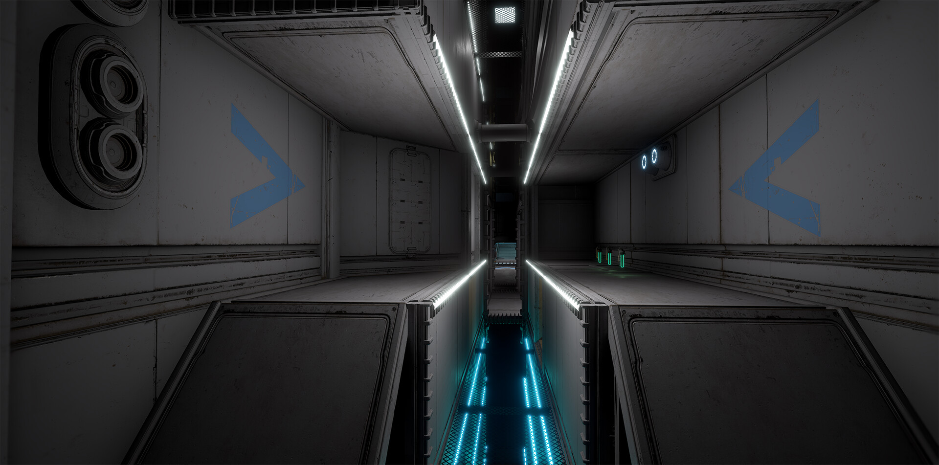 Blue Base.  Main corridor viewed from the flag room.