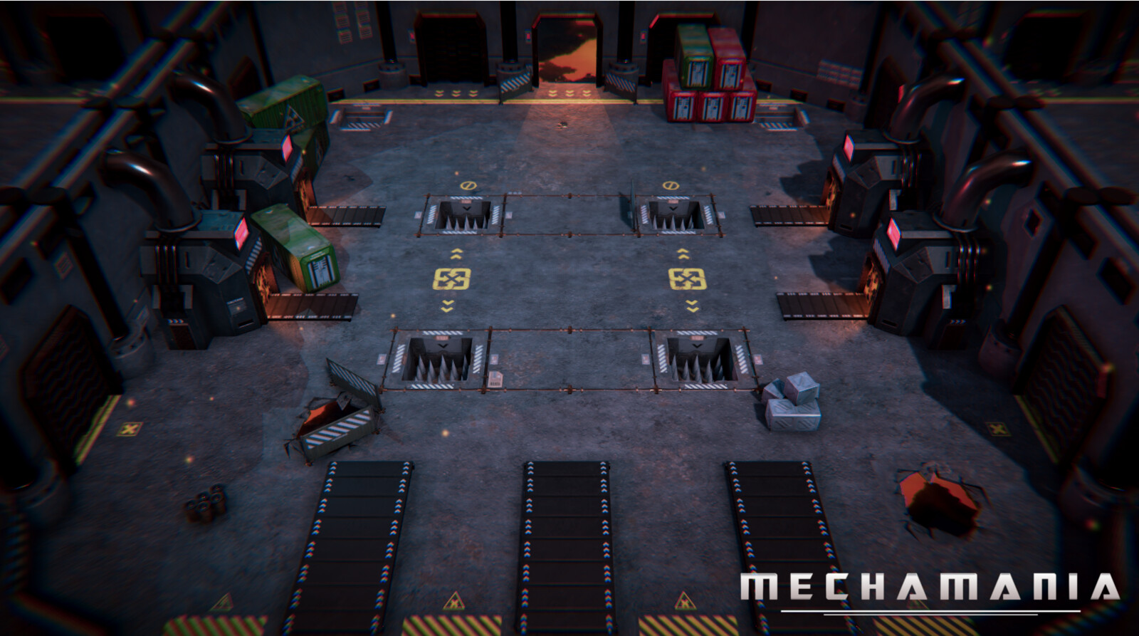 Level 3: Factory. Spike pits, moving walkways and furnaces provide unique challenges.