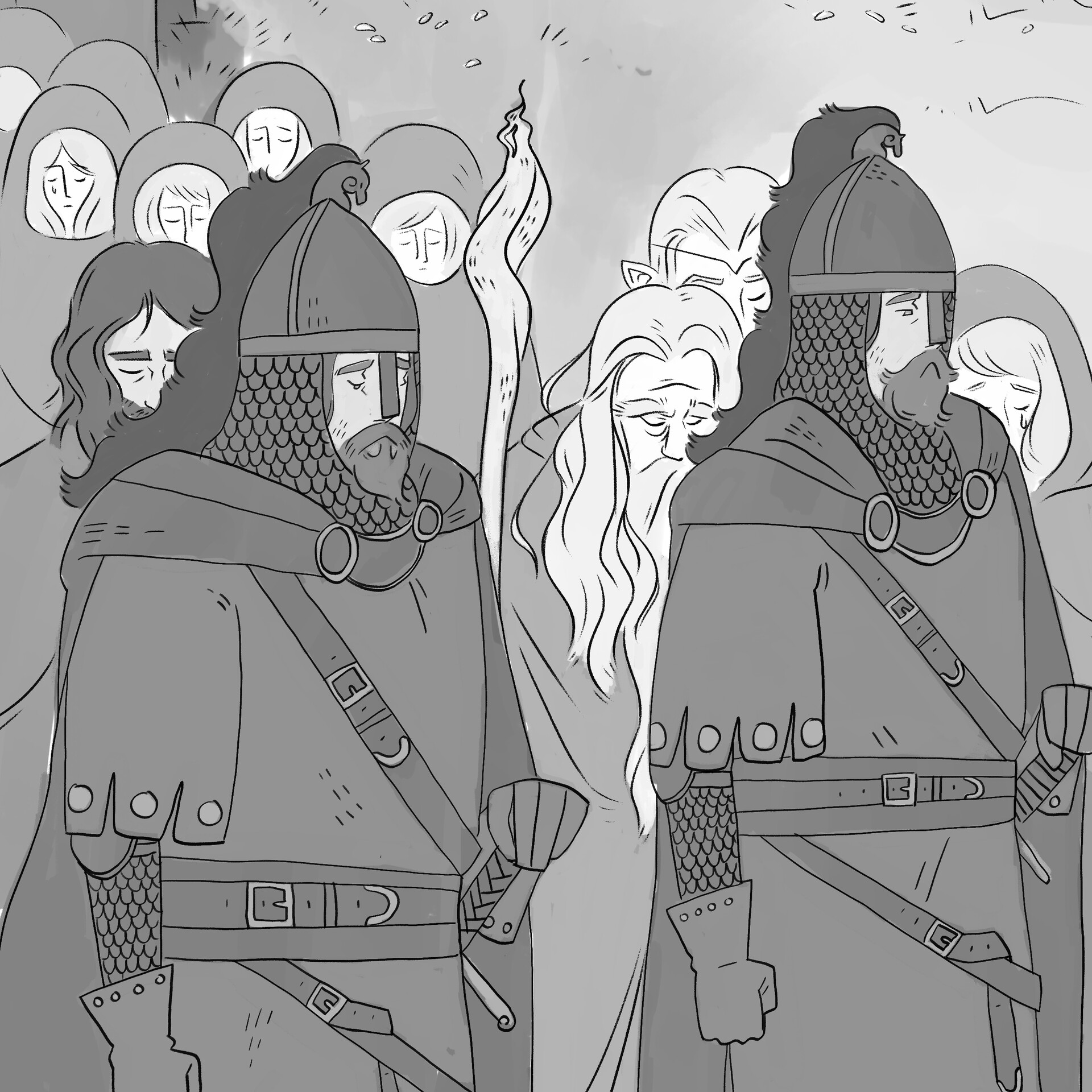 Mary roach procession greyscale wip crop3
