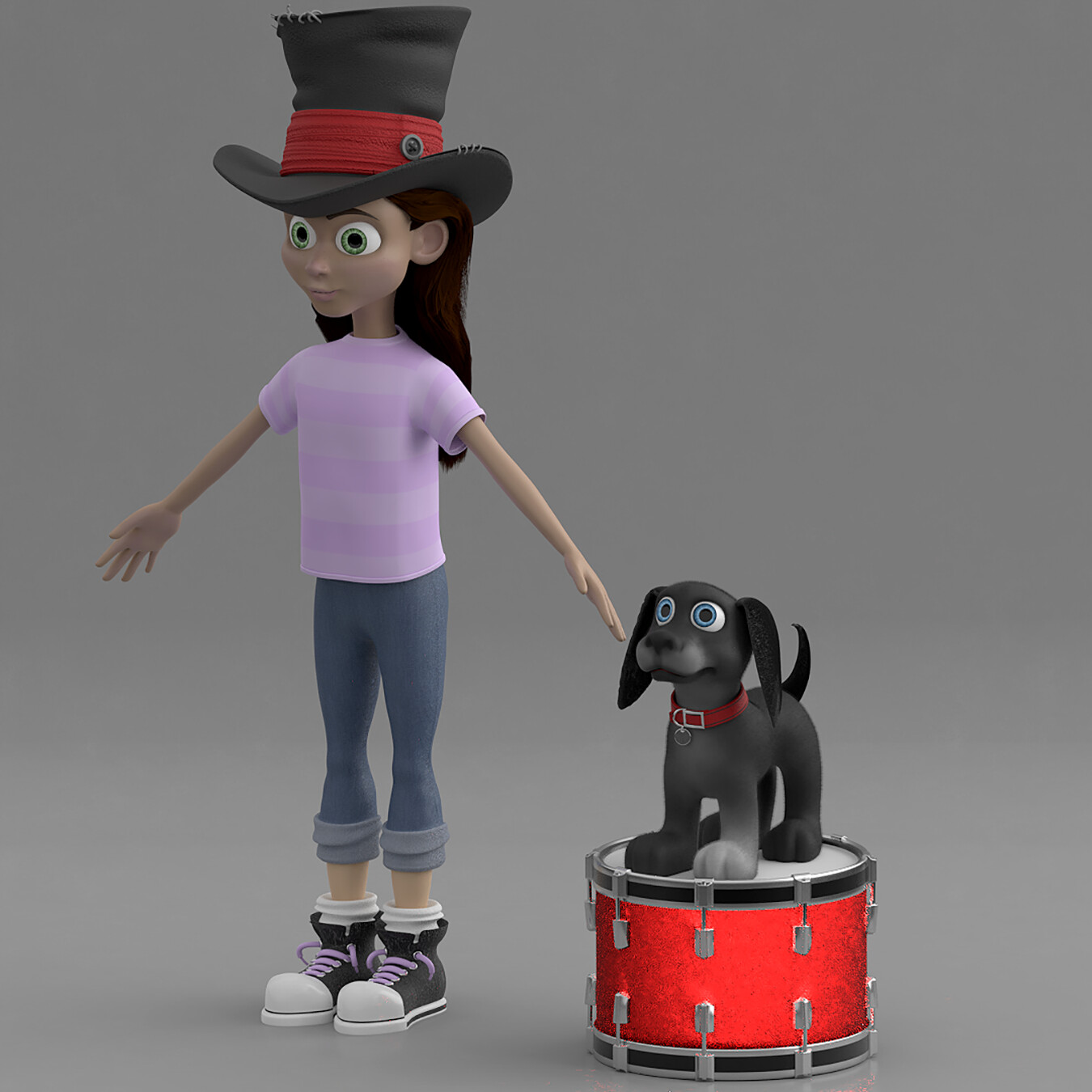 Emily and Shadow refined and painted