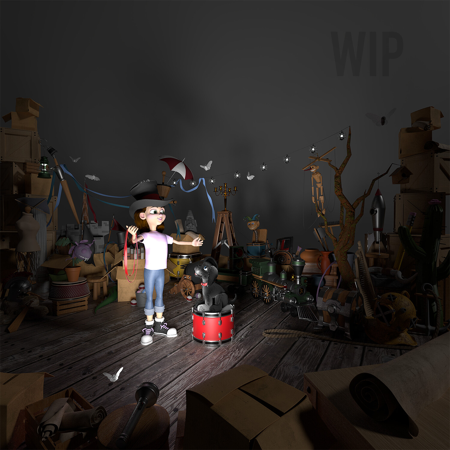 Paint & materials added to the scene and the main characters put in place