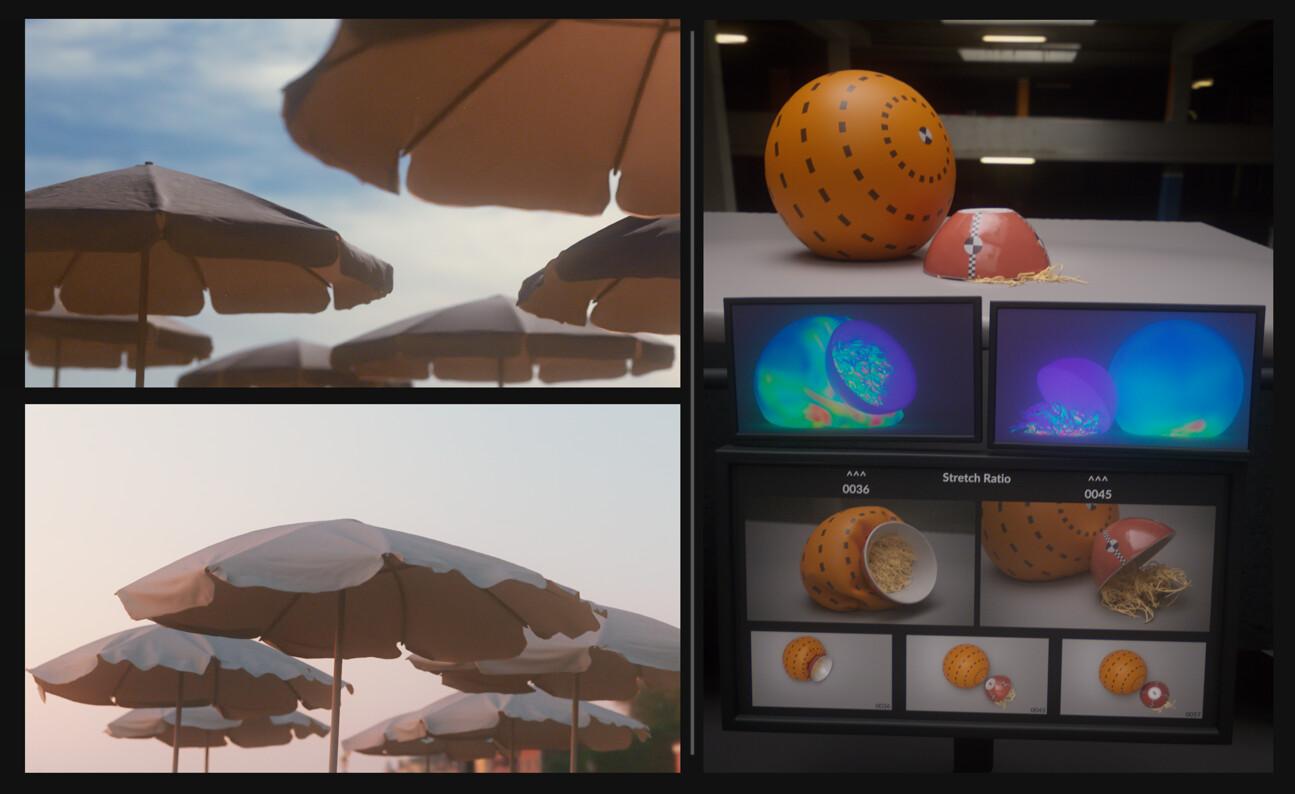 Vellumbrella (#131) | Noodles crash test lab (#132): noodles(hair), rigid body(pseudo), inflated balloon(pffff) & simulation forces visualizations (Predator mode)