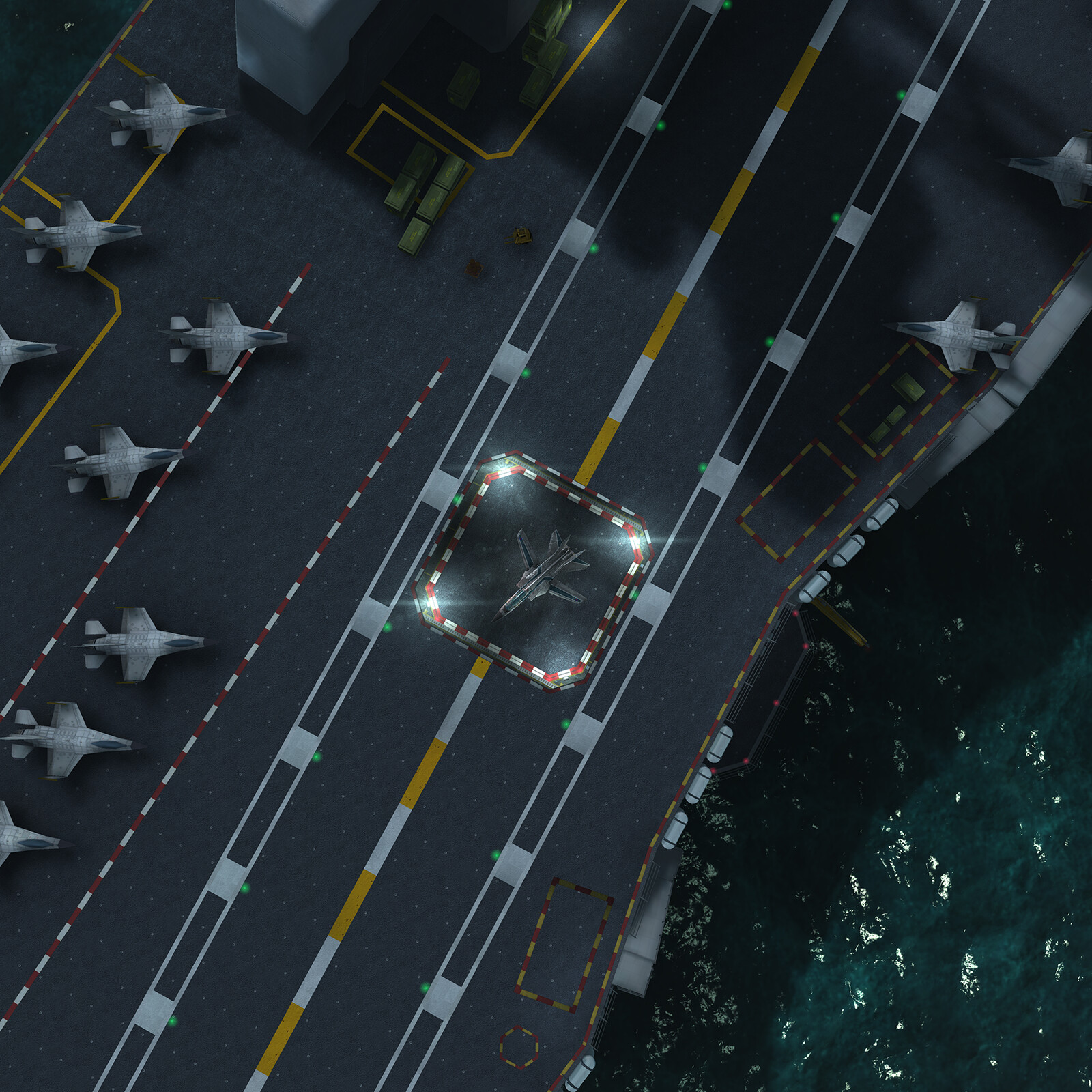 Aircraft carrier deck.