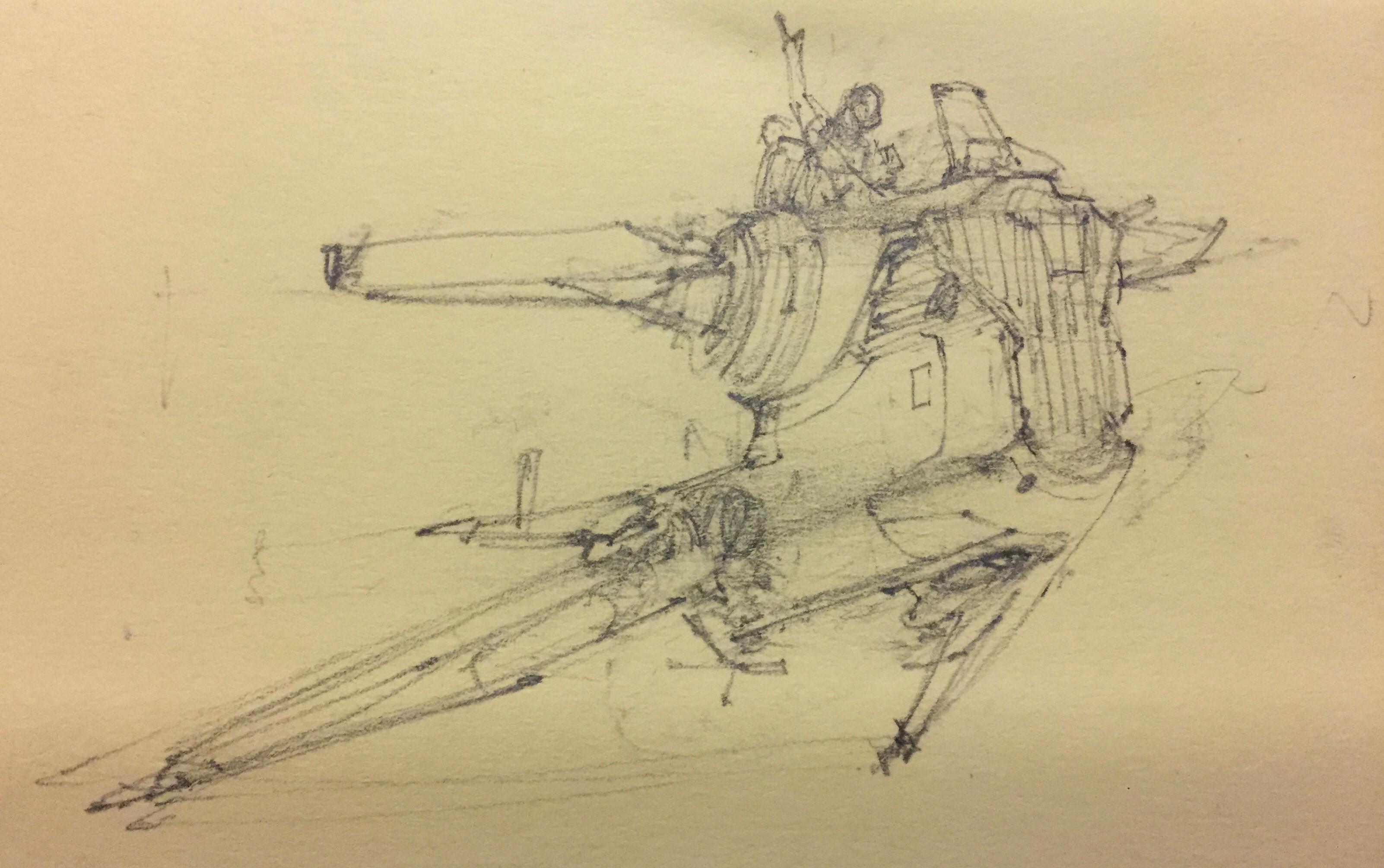 initial postit sketch of hero vehicle