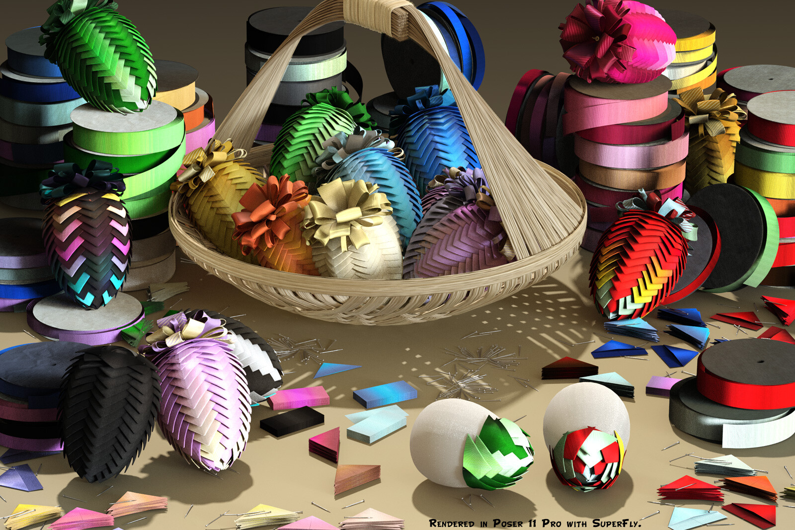 This is the main promo image, which shows how the materials appear when rendered with SuperFly (Cycles) in Poser.