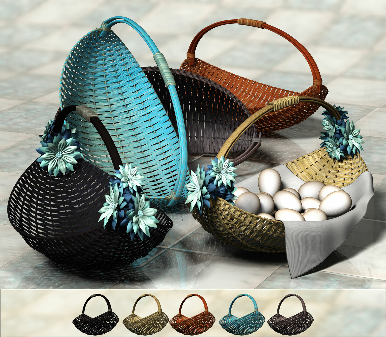 This shows the oval, boat-like baskets with each of their colors and options.