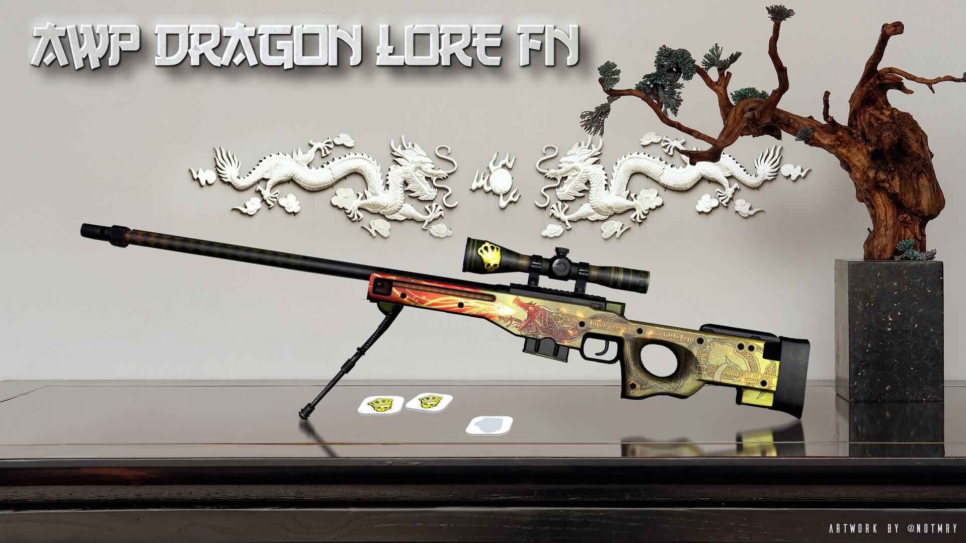 Artstation Awp Dragon Lore With Crown Foil Sticker Artwork