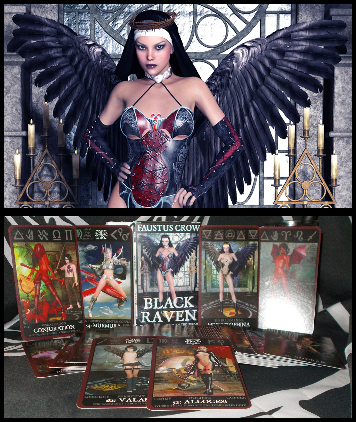Black Raven Tarot deck. There are 80 cards, which have been published, having an accompanying fully illustrated grimoire.