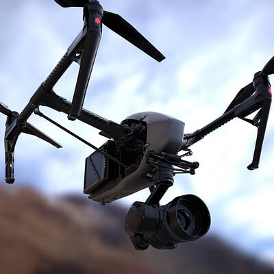DJI INSPIRE 2 rendering in realistic environment