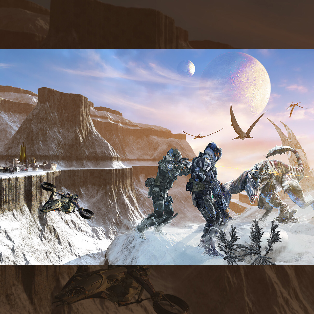 "Book 2 of The Legacy of Heorot called ""Beowulf's Children"". This illustration is a book wraparound for the bestselling authors, Jerry Pournelle, Steven Barnes and Larry Niven."