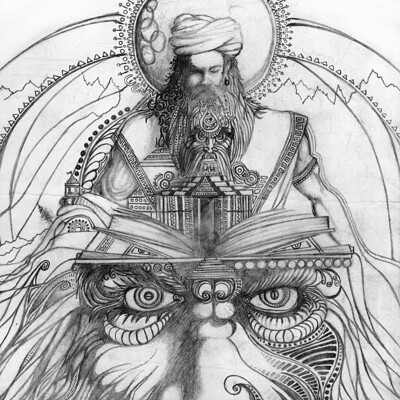 Vibhas virwani spirals of consciousness a4 pencil sketch surreal by vibhas virwani