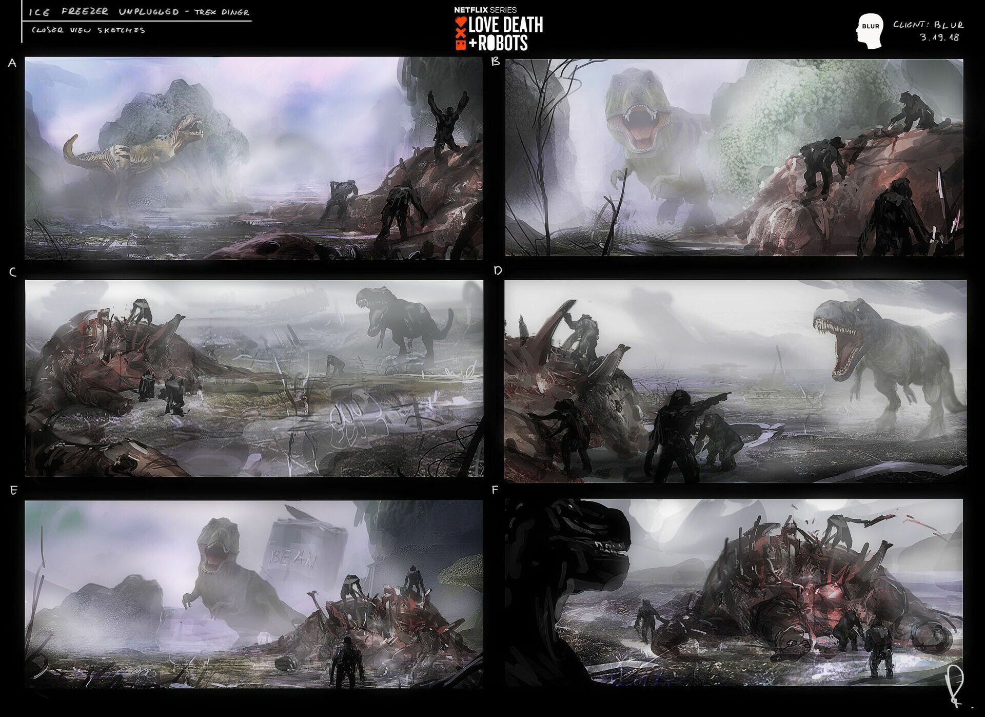 Trex grabs his Dinner in the Vegetables - concept art sketches