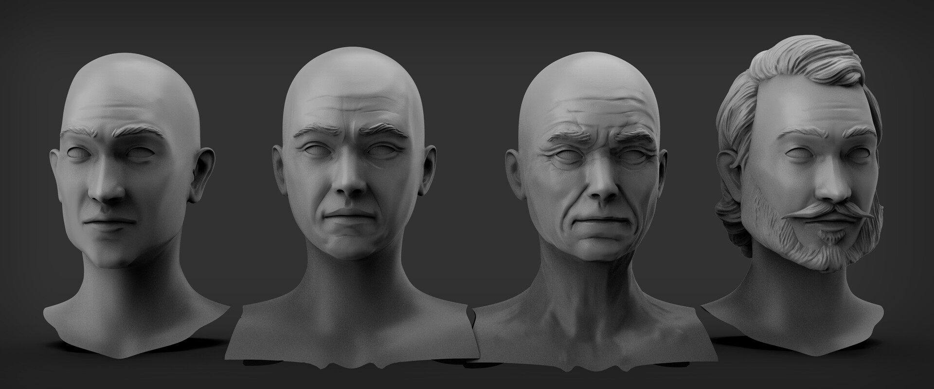 Man skin Variations sculpt and hair example