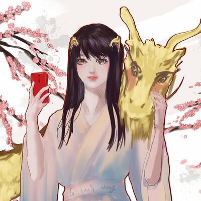 Gechunyi wang selfie with dragon by gechunyi wang 2019 april 6