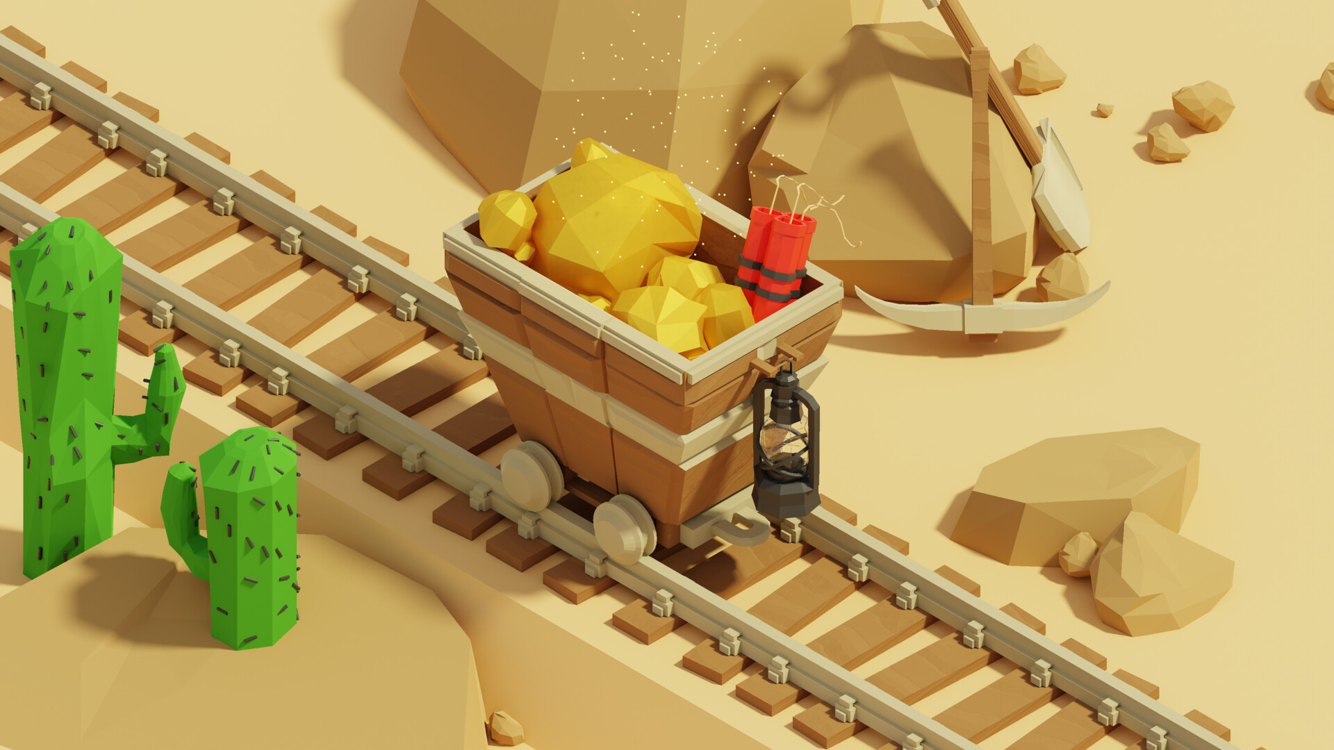 Artstation Low Poly Mine Cart Isometric I M A G I N I B U S