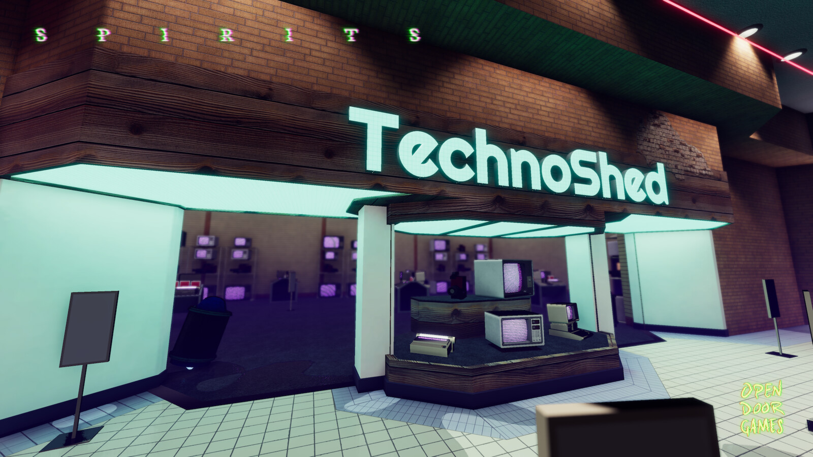 TehcnoShed's sign is based on a retro futuristic angular design style often used for mall electronics shops.