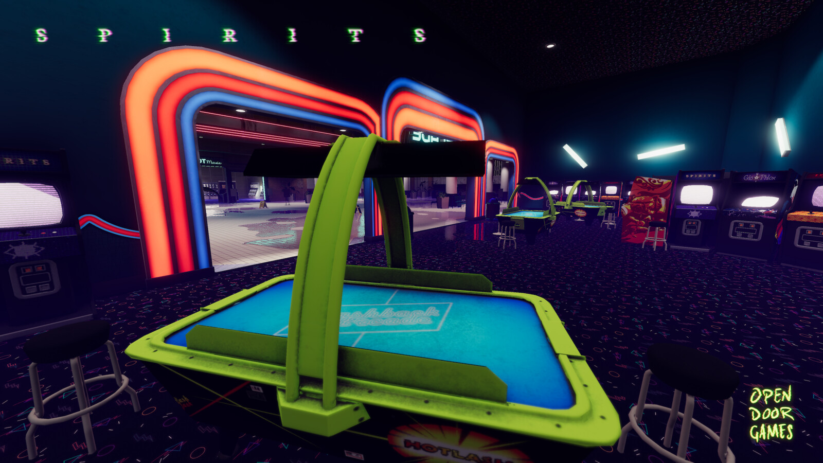 The arcade was a Wonderfull space to build, from custom textures to the creative use of lighting.