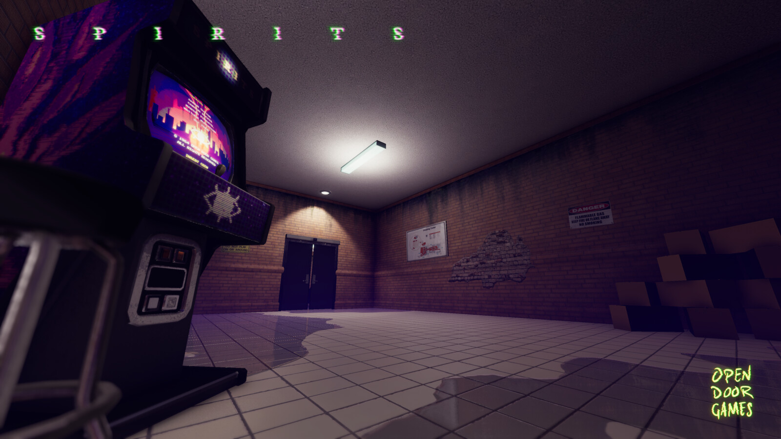 The opening area of Spirits. This room needs to guide the player froward. It also hold the main menu on an arcade machine.