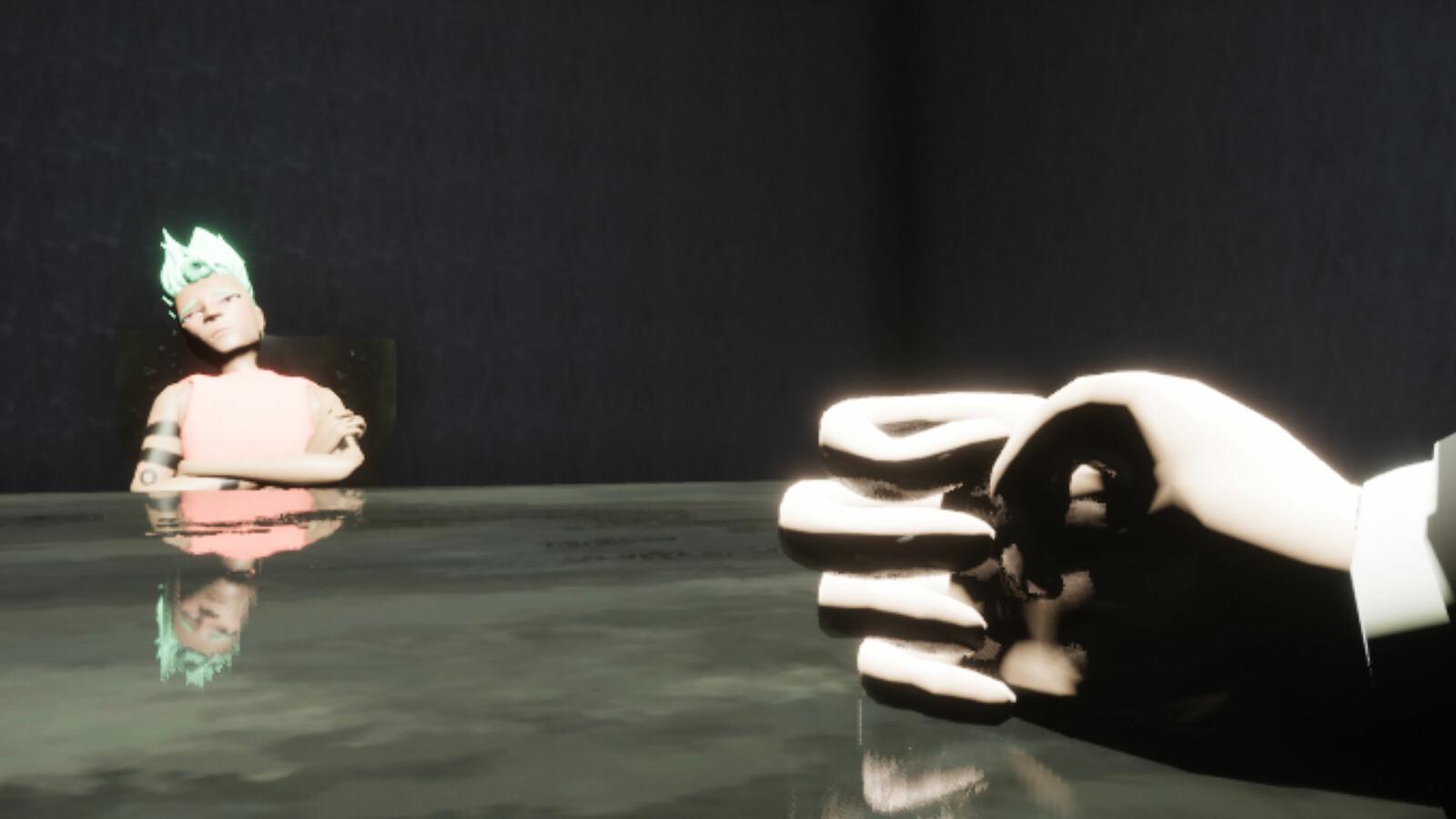 Still taken from opening cutscene where Reno is in the interrogation room