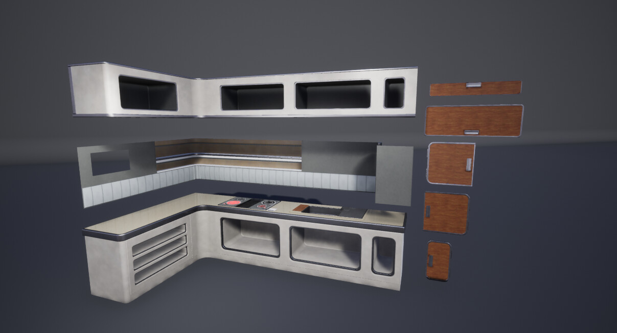 Breakdown of how the kitchen area was constructed.  By breaking it down into 3 separate pieces, I was able to make quick changes to one section of the entire room, without having to redo elements all over the  section.