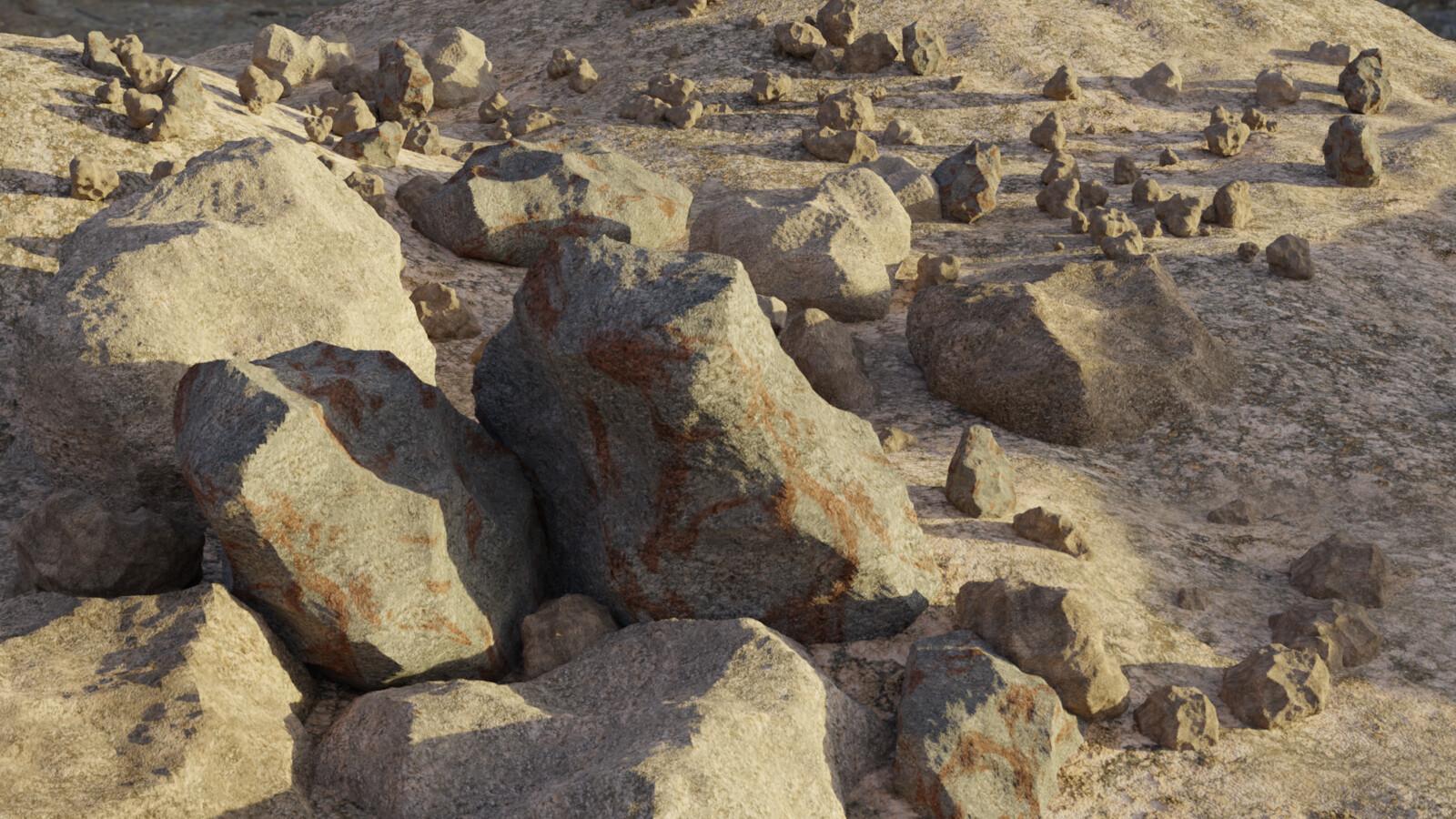 rocks generated in blender. textures form texturehaven