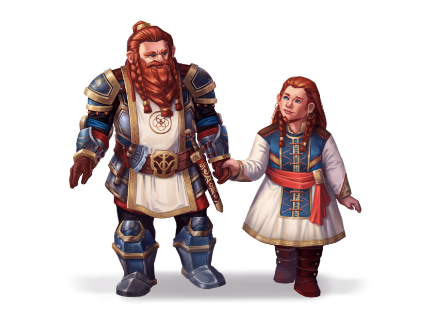 Dwarf Captain and his daughter