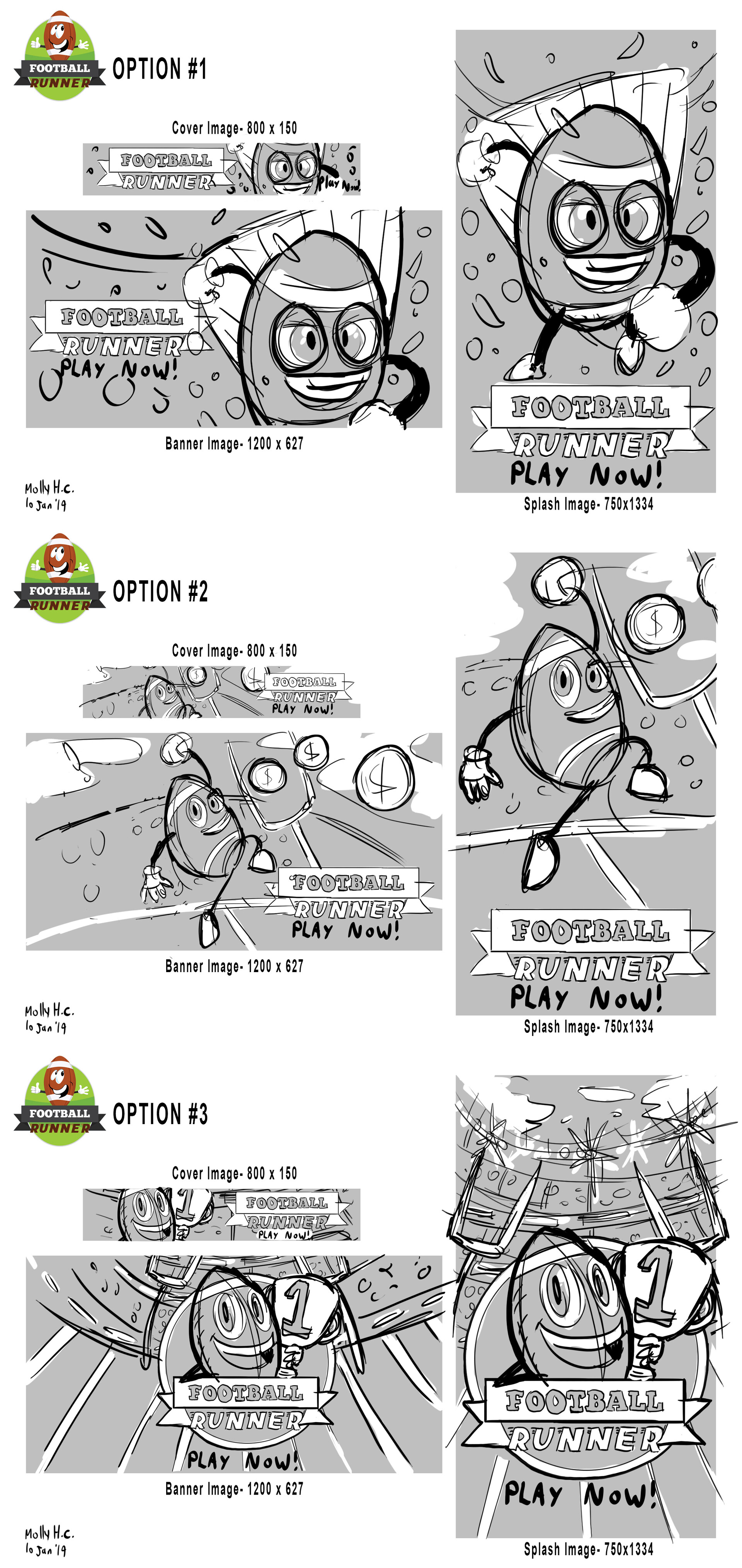 Football Runner App Promo Art Sketches