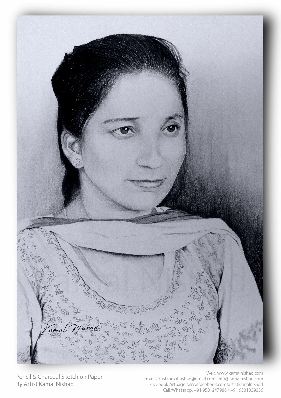 Kamal nishx pencil charcoal sketch smile a lady by artist kamal nishx 91 9501247988 91 9331339336