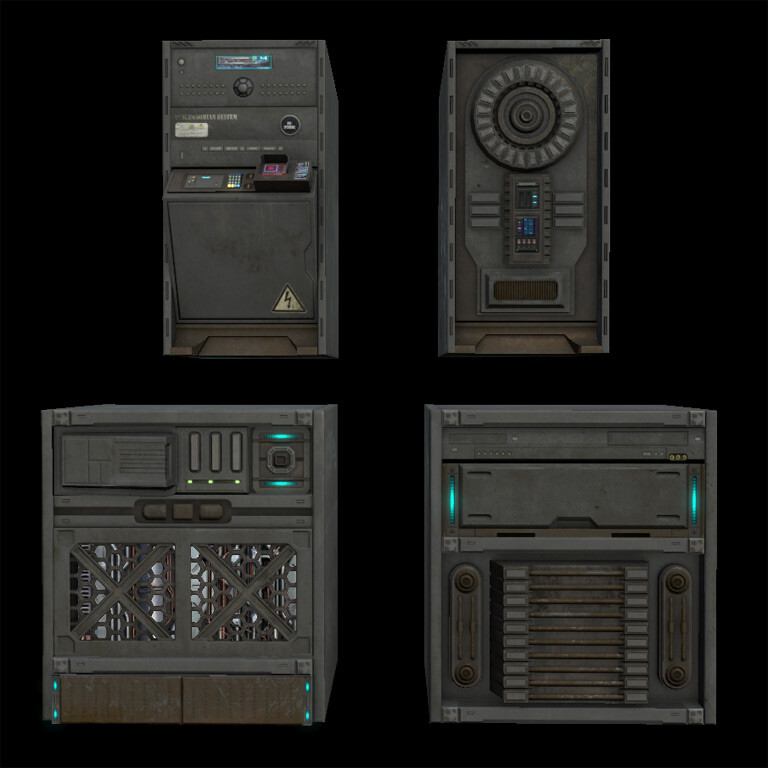 Just some techie boxes I dreamed up as set-dressing for a military compound